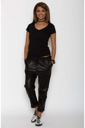 Pantaloni dama piele eco metalizat negru