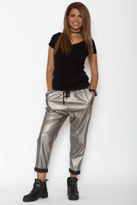 Pantaloni dama piele eco metalizat argintii