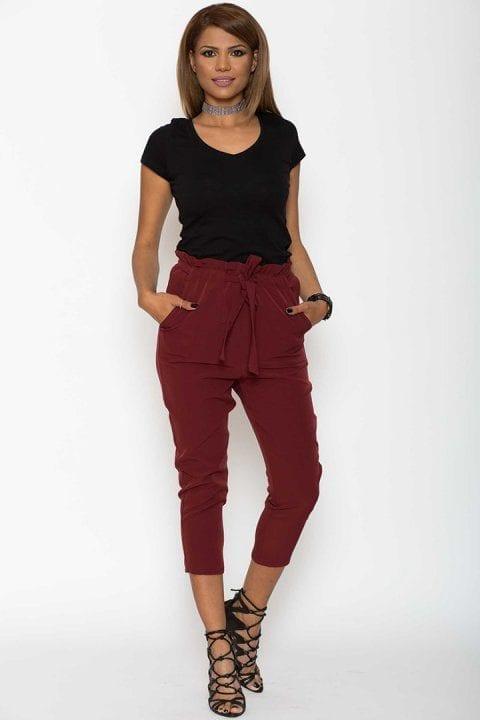 Pantaloni dama Katias bordo