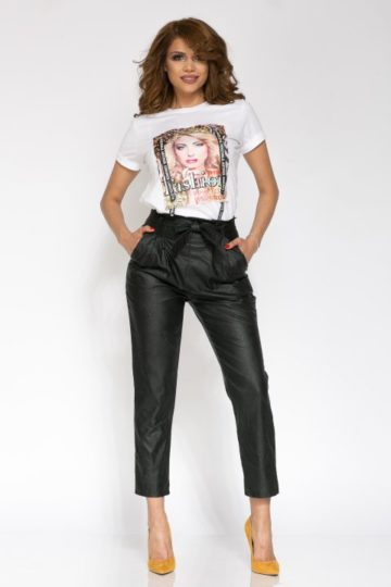 Pantaloni dama piele eco NAYAN negru