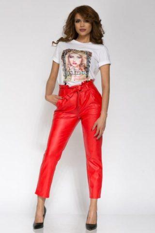 Pantaloni dama piele eco NAYAN rosu