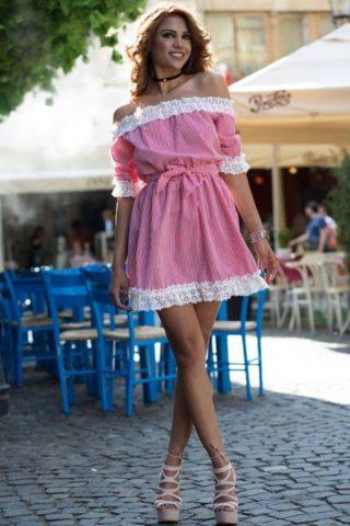 Rochie casual Silvie rosie