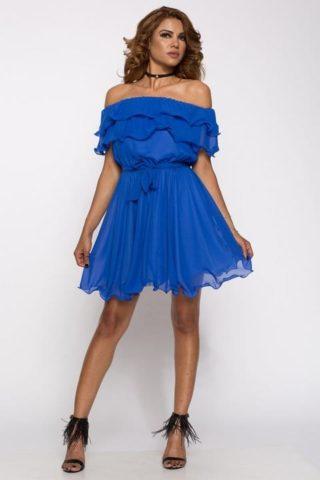 Rochie eleganta cu volane Alisa albastra