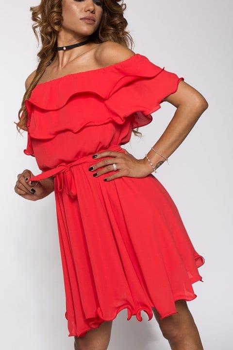 Rochie eleganta cu volane Alisa rosie
