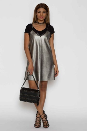 Rochie de zi piele eco Chic argintie