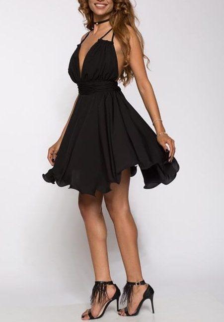 Rochie de seara midi Lia neagra