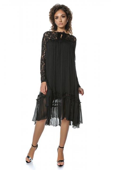 Rochie eleganta neagra cu dantela si funda Anisia