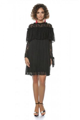 Rochie eleganta scurta neagra din dantela cu fundite Kaliss