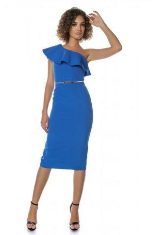 Rochie eleganta albastra conica cu volane Vole