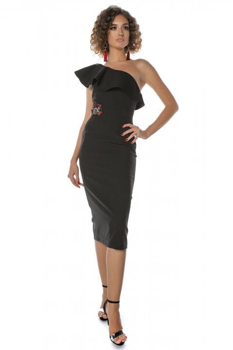 Rochie eleganta neagra conica cu volane Vole