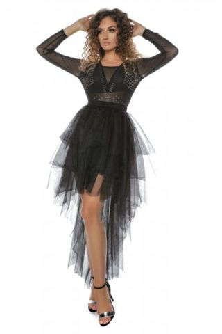 Body negru transparent cu aplicatii metalice Felly5