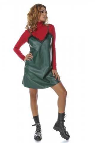 Rochie de zi piele eco Chic verde