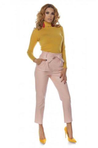 Pantaloni dama piele eco NAYAN roz