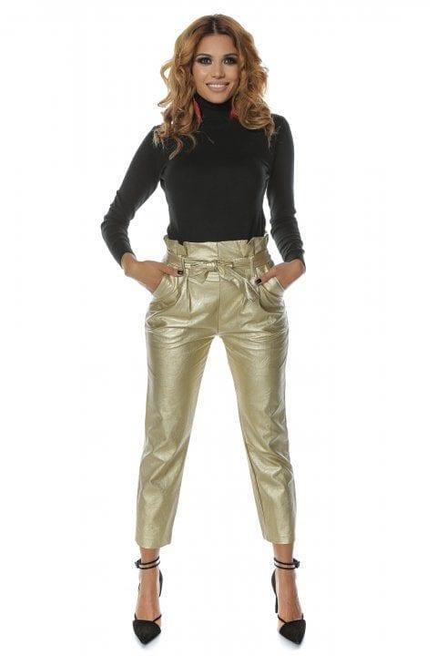 Pantalon dama piele eco NAYAN aurii
