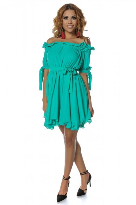 Rochie casual Carina verde aqua