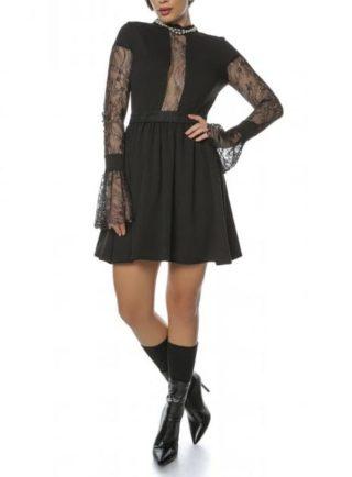 Rochie eleganta neagra cu maneci din dantela Caryola