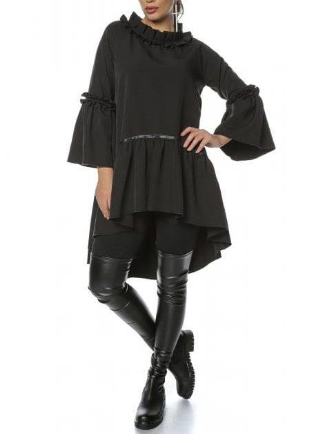 Rochie de zi clos cu pliuri neagra Mira