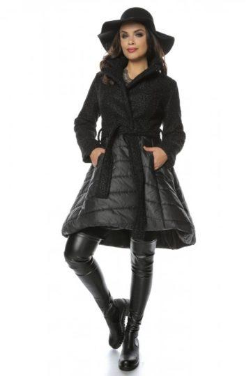 Jacheta neagra baby doll cu fas si stofa bucle Anemona