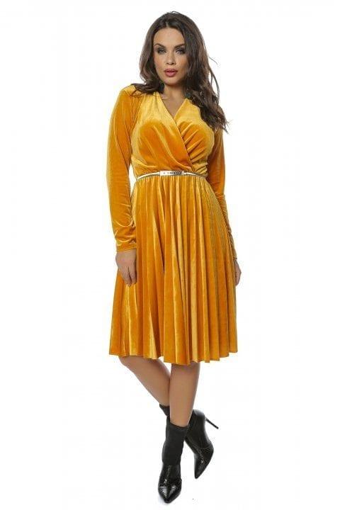 Rochie de zi midi galben-mustar Din Catifea Cu Pliuri Tifany