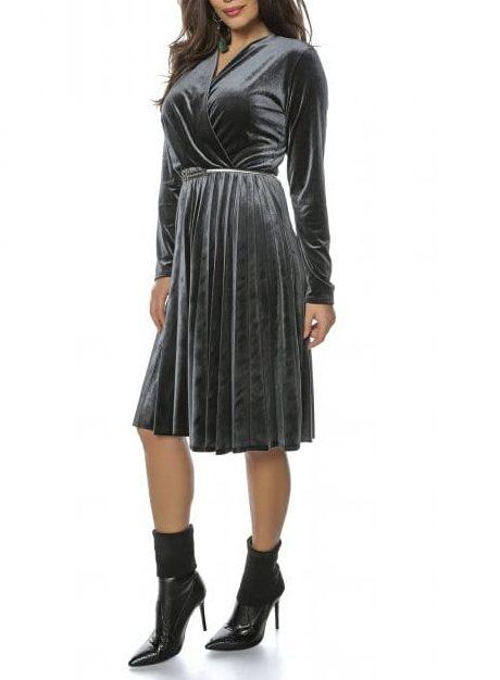 Rochie de zi gri inchis din catifea cu pliuri Tifany