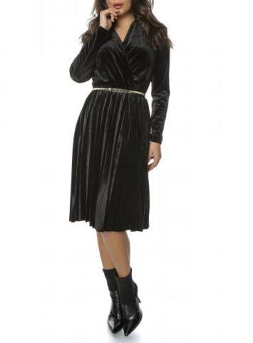 Rochie de zi midi neagra din catifea cu pliuri Tifany
