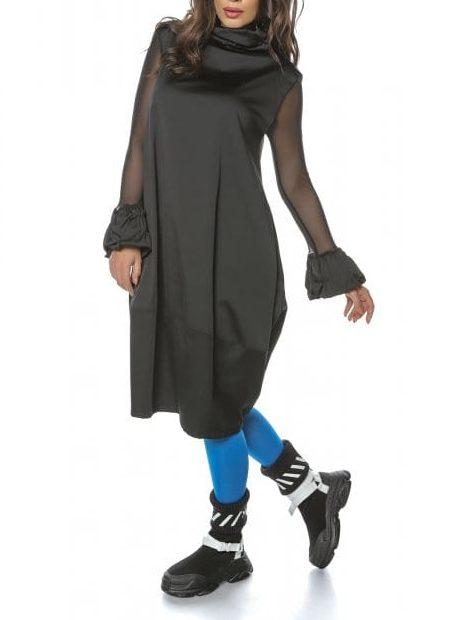 Rochie casual neagra cu maneci din tulle si guler cret Creative