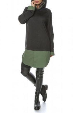 Rochie casual neagra cu gluga si mansete kaki Ary