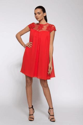 Rochie de seara dantela Catlin rosie