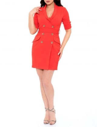 Cumpara rochie scurta rosie din bumbac cu maneci scurte si doua randuri de nasturi la pret avantajos. Compozitie: 65% bumbac, 35% elastanIntretinere: spalare automata la 30 de grade. Produs in Romania. Livrare gratuita. Rochie deosebita designeri romani.