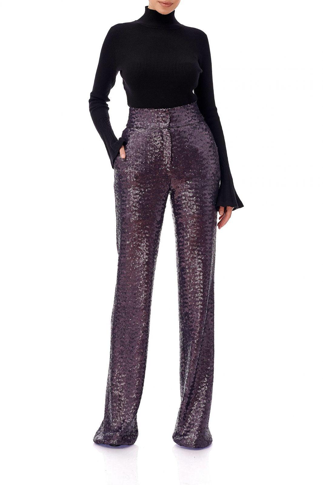 Pantaloni din paiete cu talie inalta, Eva, Mov, INNA B.
