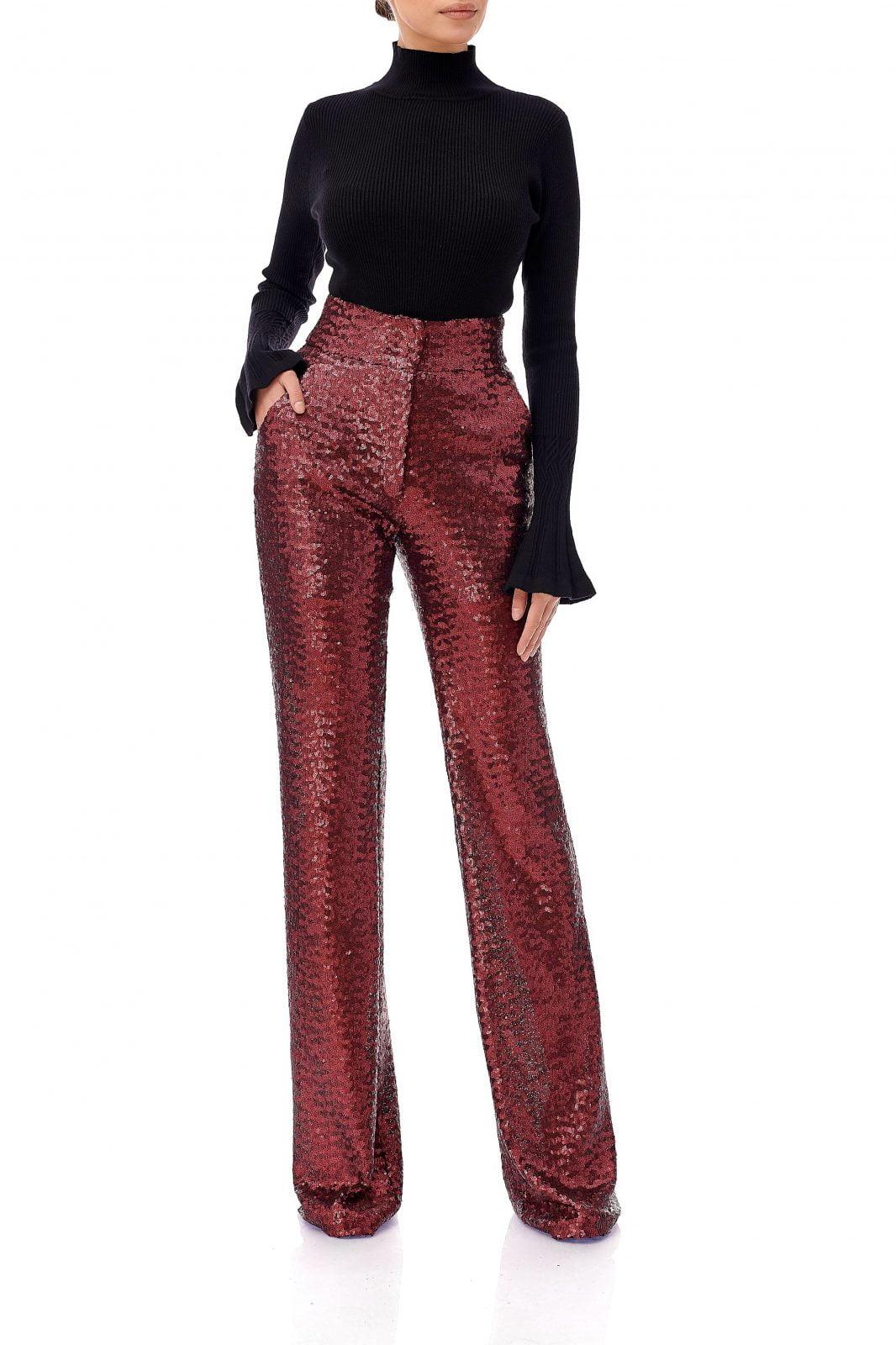 Pantaloni din paiete cu talie inalta, Eva, Rosu, INNA B.