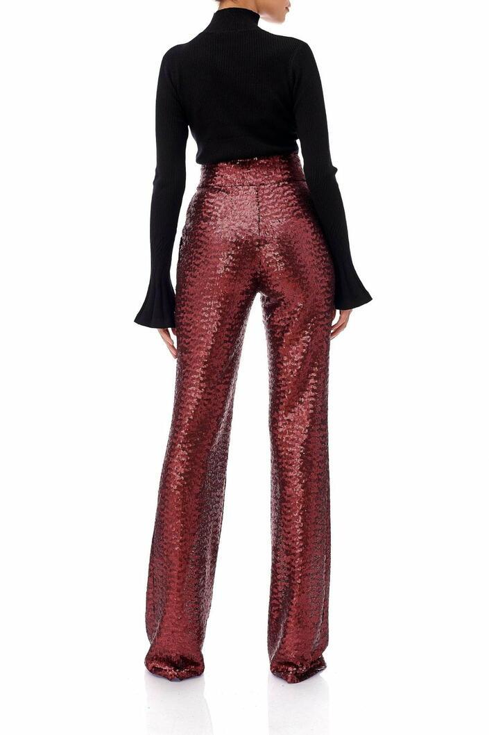 Pantaloni rosii din paiete