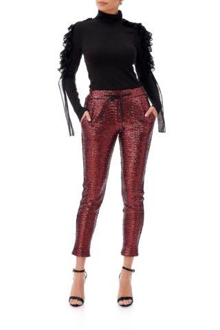 Cumpara Pantaloni cambrati din paiete rosii la pret avantajos. Livrare gratuita. Retur gratuit. Materiale de calitate. Gama variata de pantaloni.