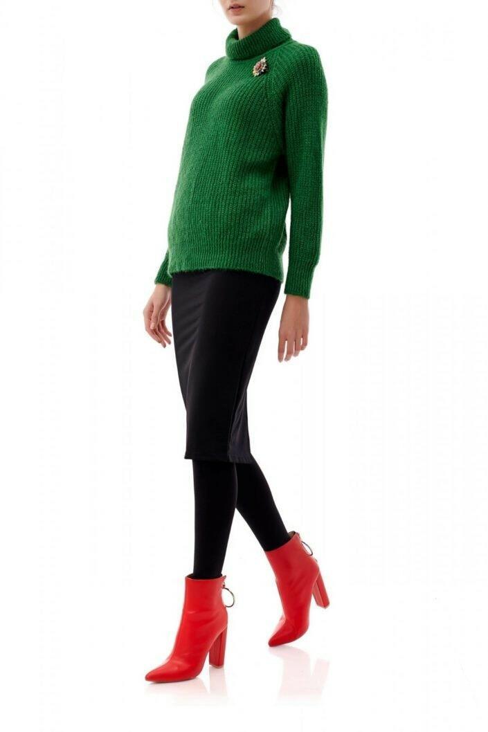 Pulover verde supradimensionat