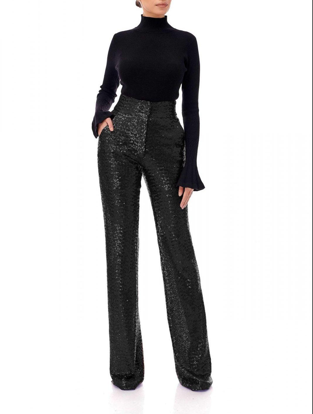 Pantaloni din paiete cu talie inalta, Eva, Negru, INNA B.
