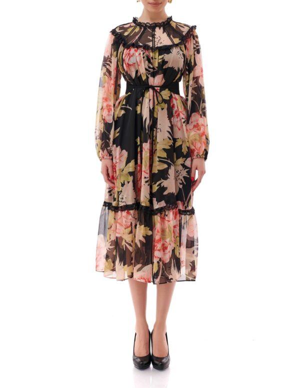 Rochie de zi cu imprimeu floral, Multicolor, Paloma, INNA B.