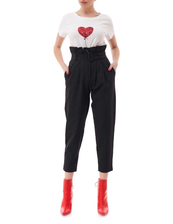Pantaloni midi cu talie inalta, Lady, Negru, INNA B.