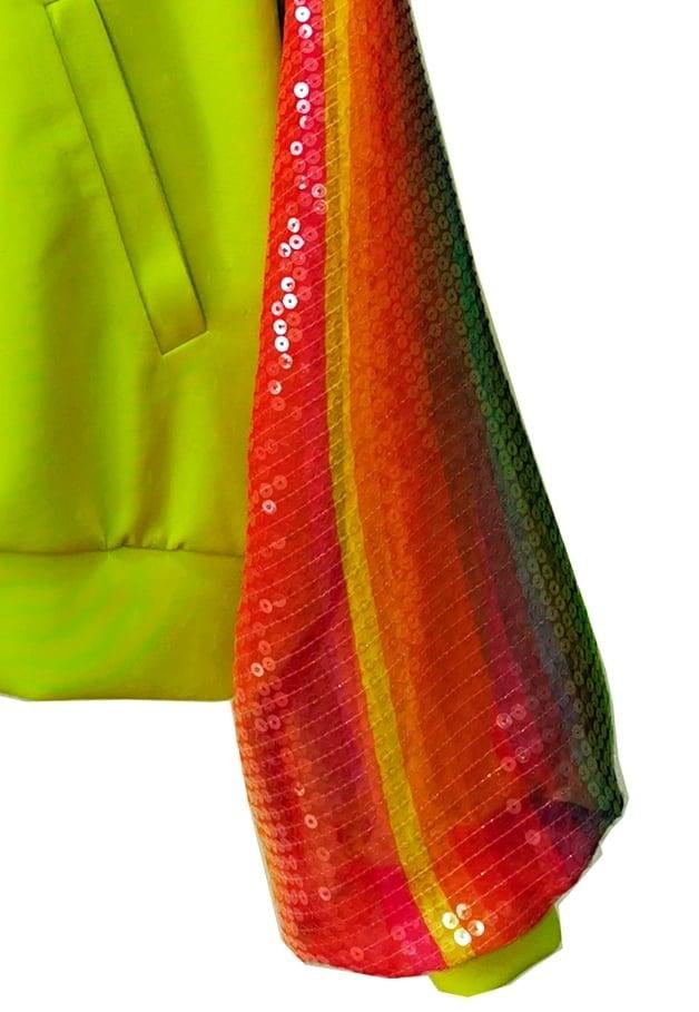 Hanorac Rainbow Cu Paiete, Verde Neon, Inna B, 3 Detaliu