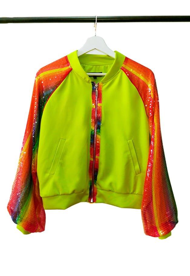 Hanorac Rainbow Cu Paiete, Verde Neon, Inna B