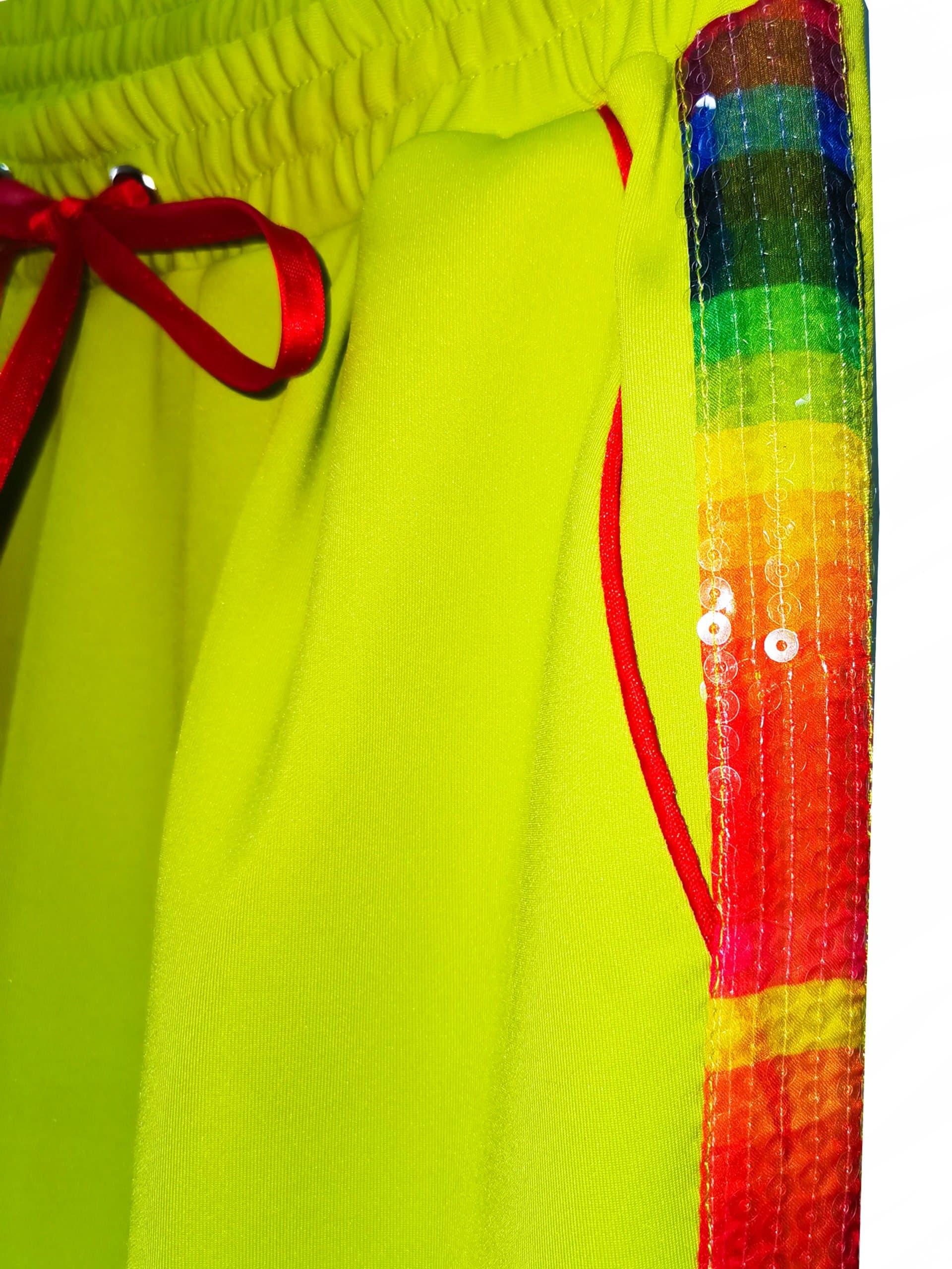 Pantaloni Rainbow Cu Paiete, Verde Neon, Inna B 2