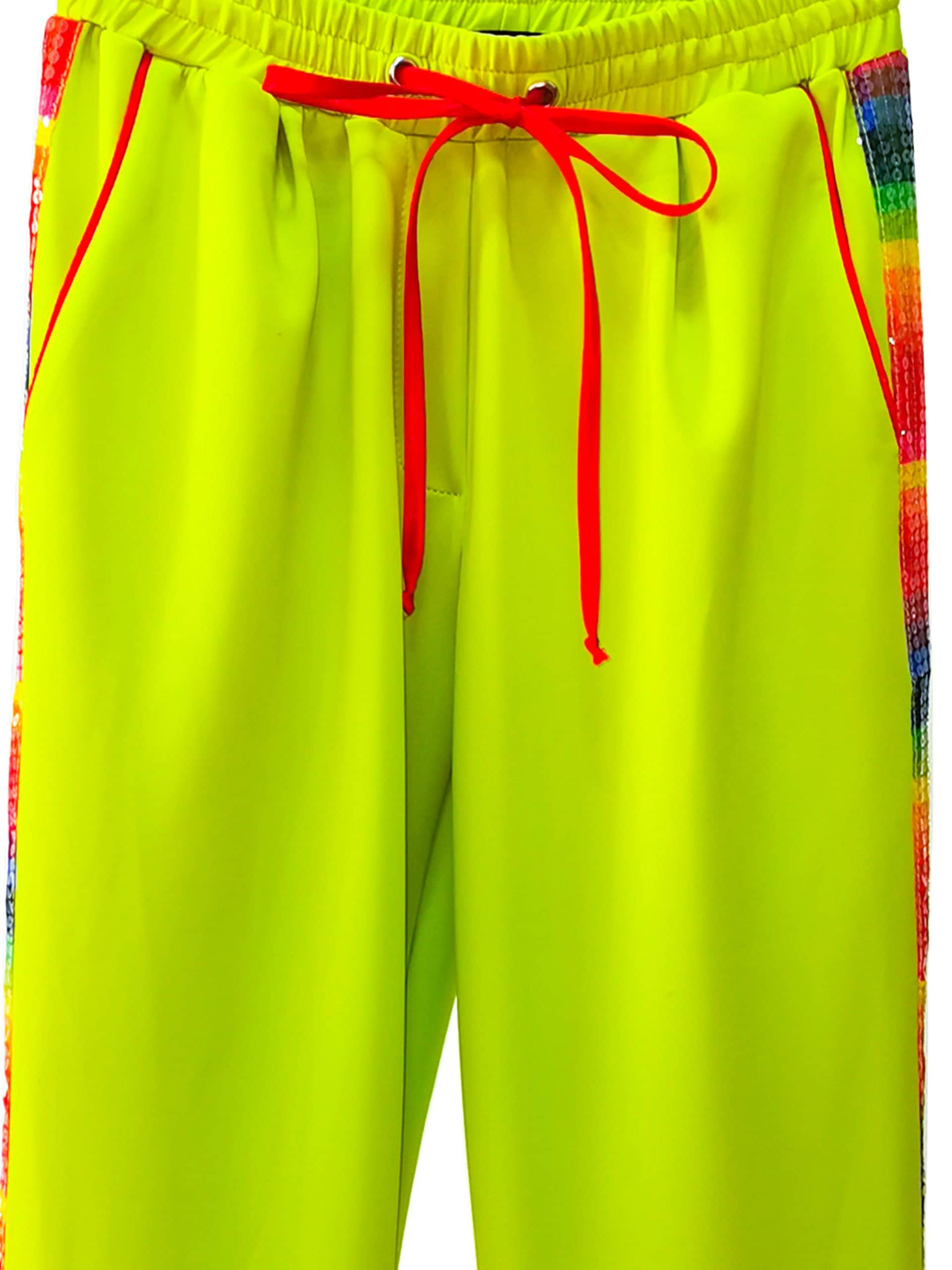 Pantaloni Rainbow Cu Paiete, Verde Neon, Inna B 3