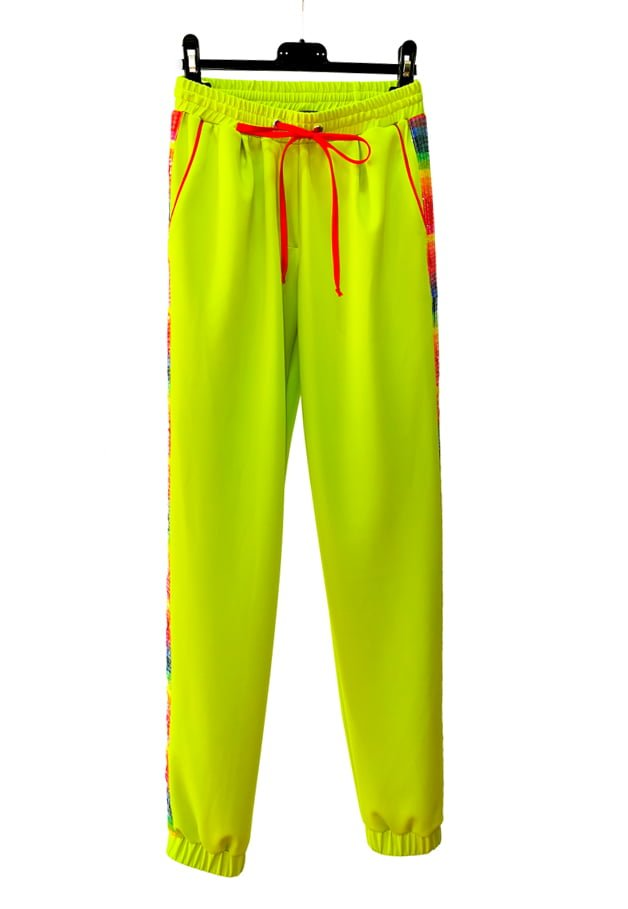 Pantaloni Rainbow Cu Paiete, Verde Neon, Inna B