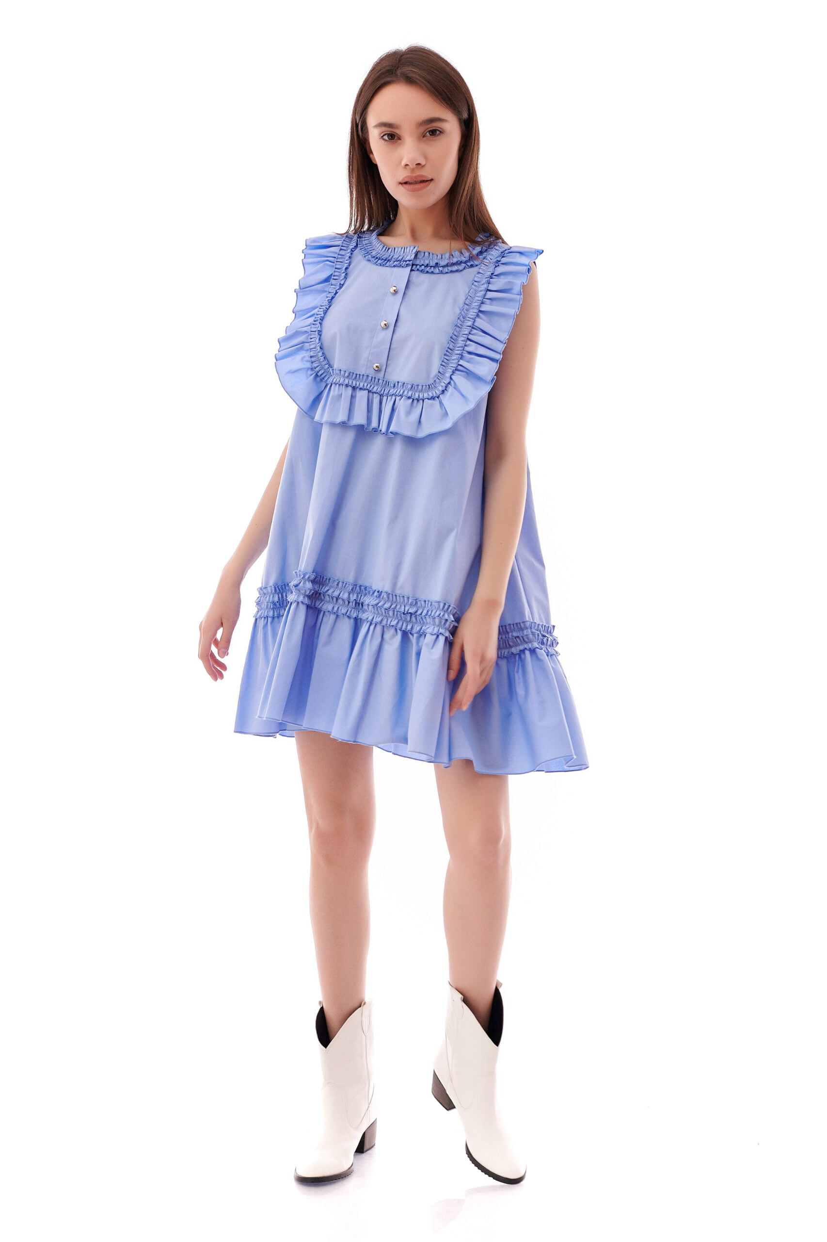 Rochie casual din bumbac clos blue 3 1 scaled