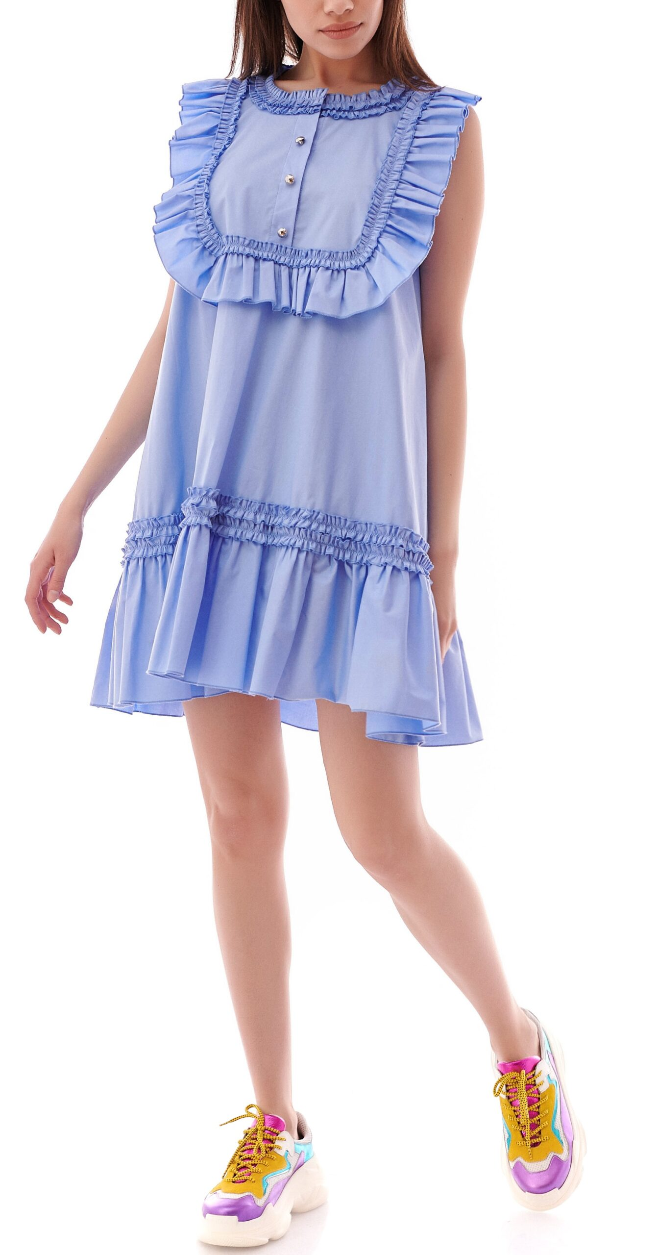 Rochie casual din bumbac clos blue