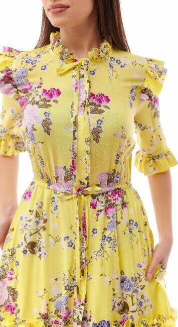 Rochie casual din vascoza cu flori galbena